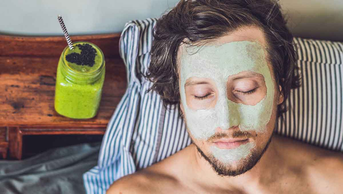 Man relaxing having his cannabis hemp skin care