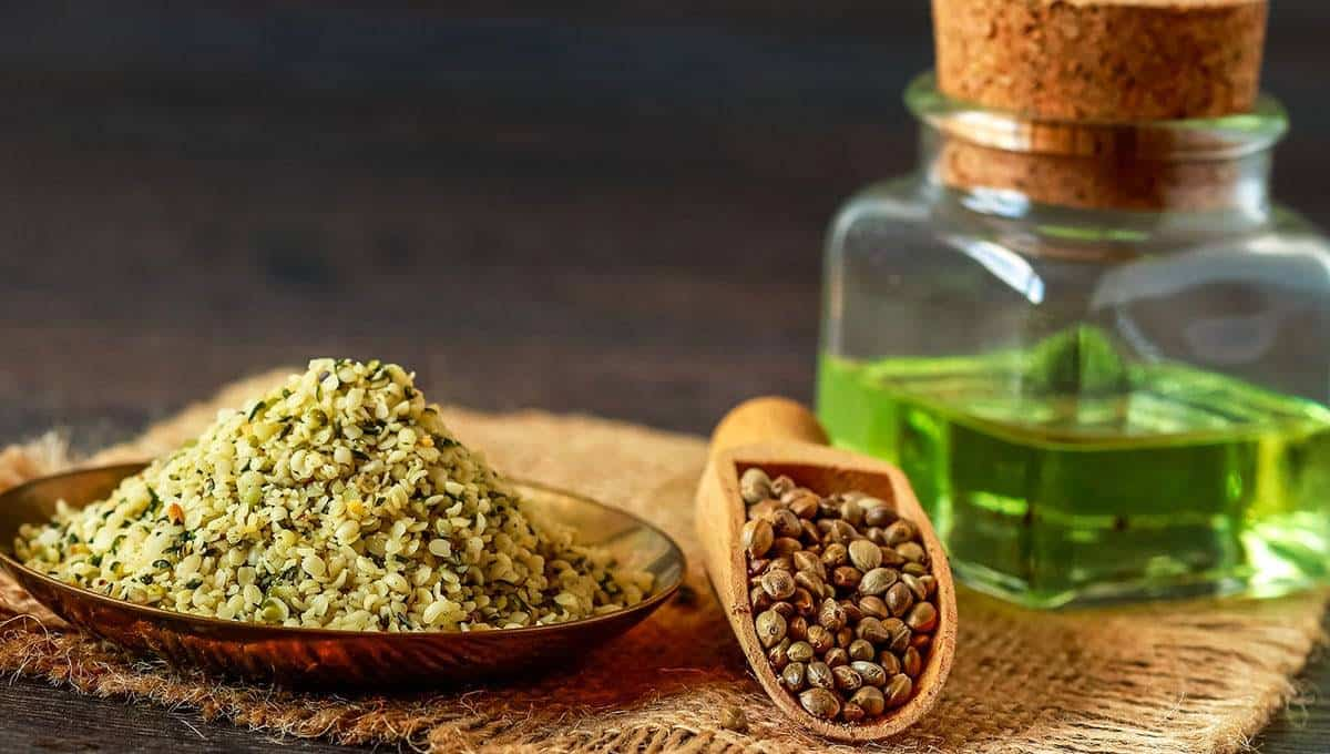 Hemp seeds and cbd oil in a bottle