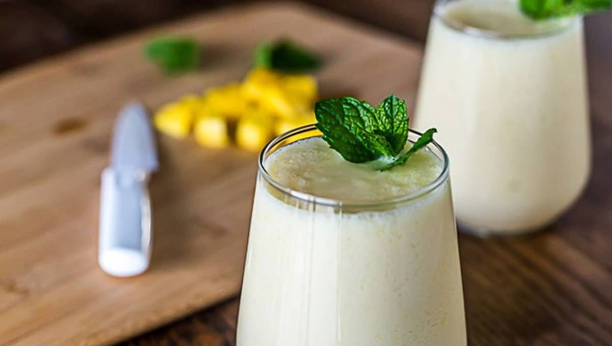 Homemade CBD lassi in glass with mint