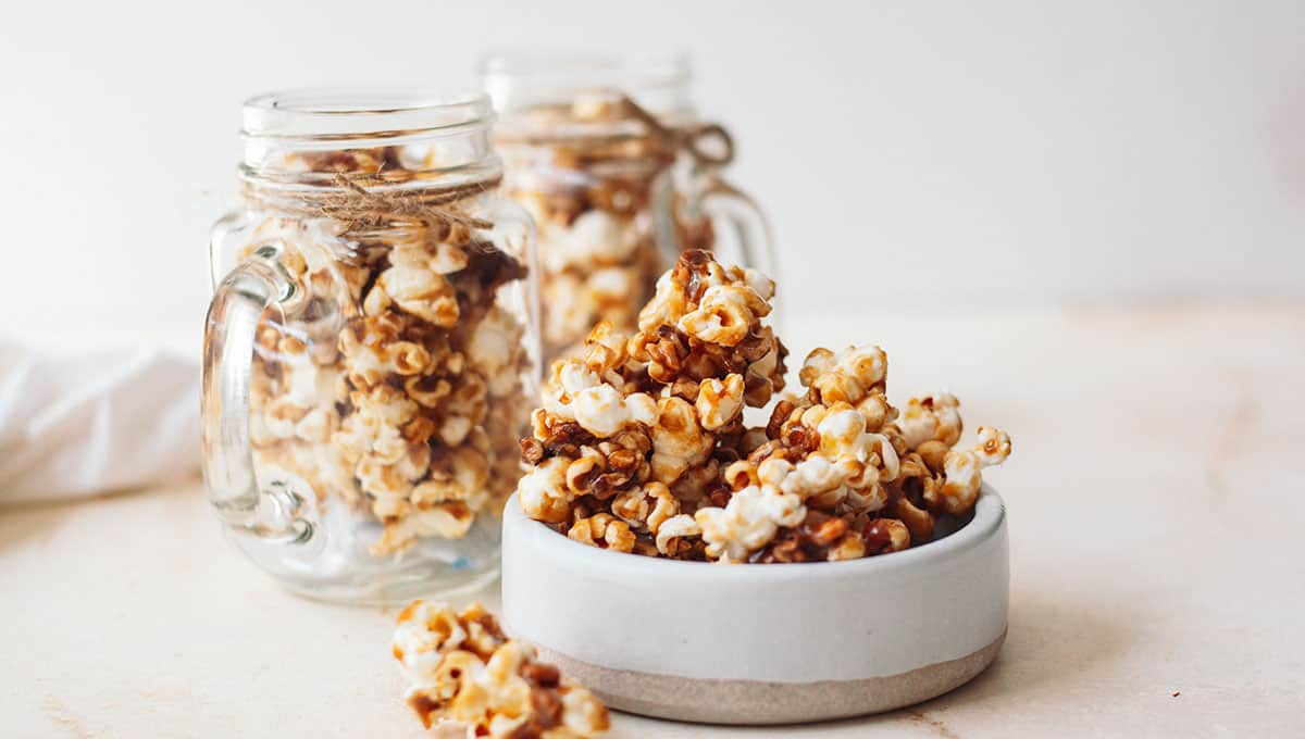 Salted caramel CBD popcorn recipe glass container