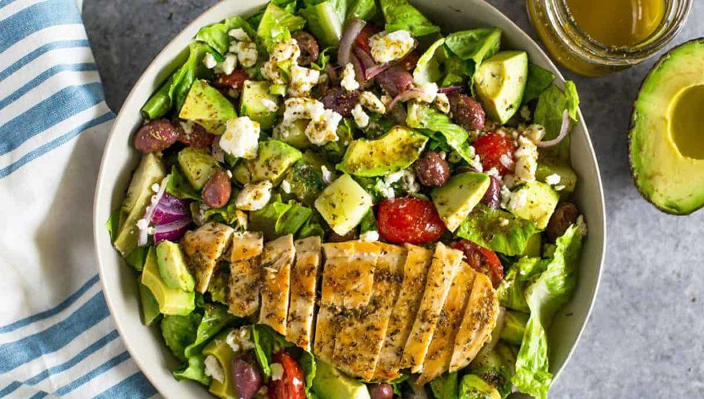 Chicken salad with CBD lemon salad dressing
