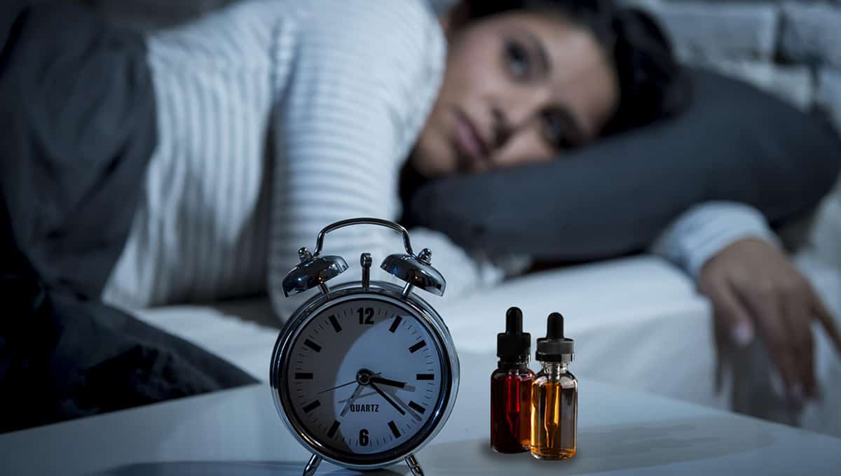 CBD for sleep tinctures beside the clock woman background