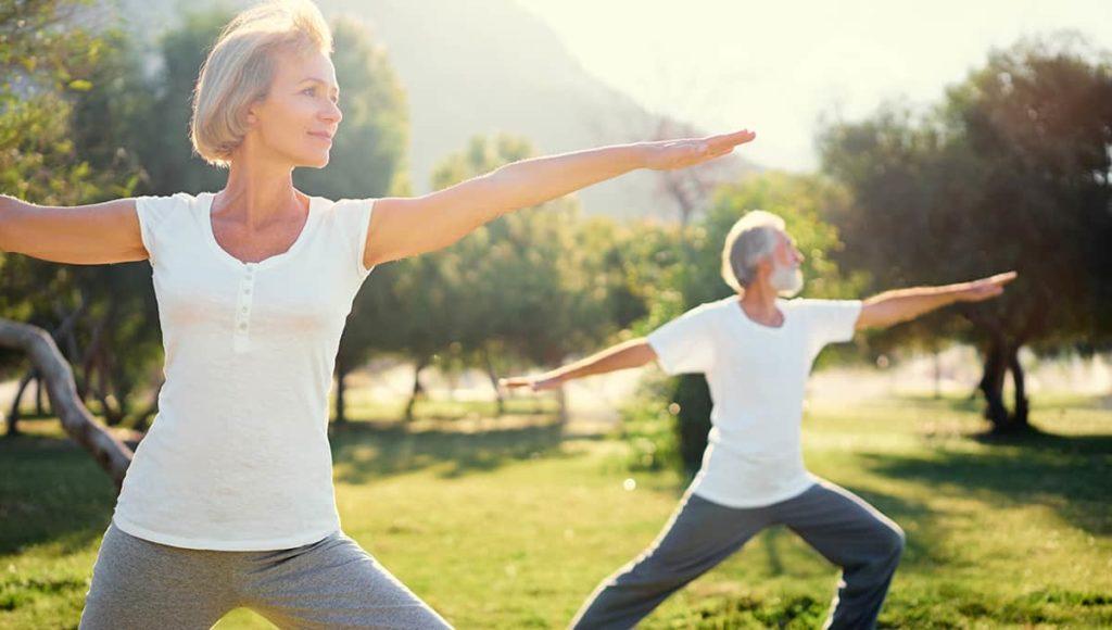 Senior couple practicing yoga nature